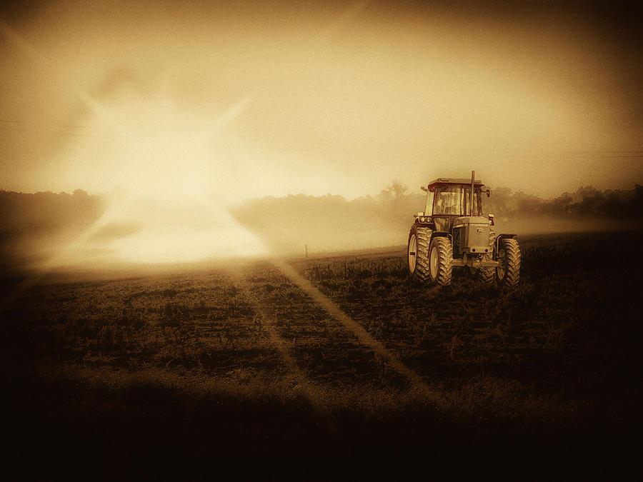 Tractor Photograph - John Deere Glow by Kelly Reber