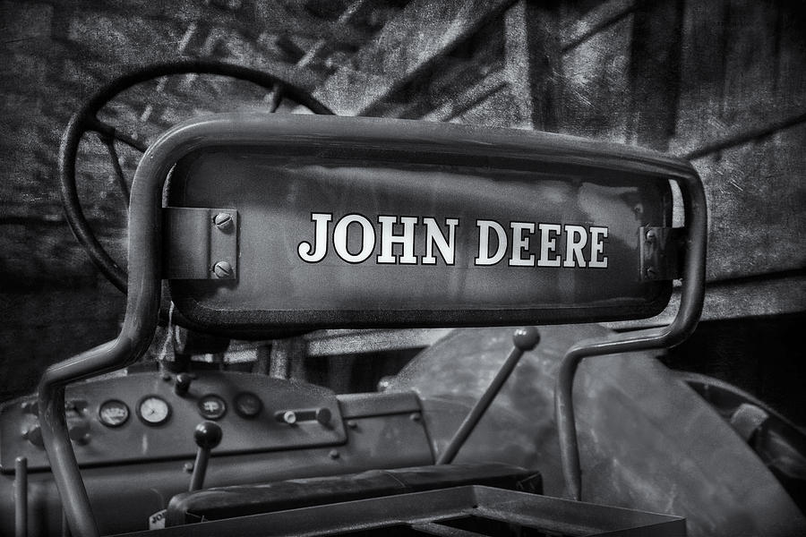 Diesel Photograph - John Deere Tractor Bw by Susan Candelario
