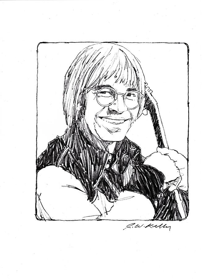 John Denver Drawing - John Denver by J W Kelly