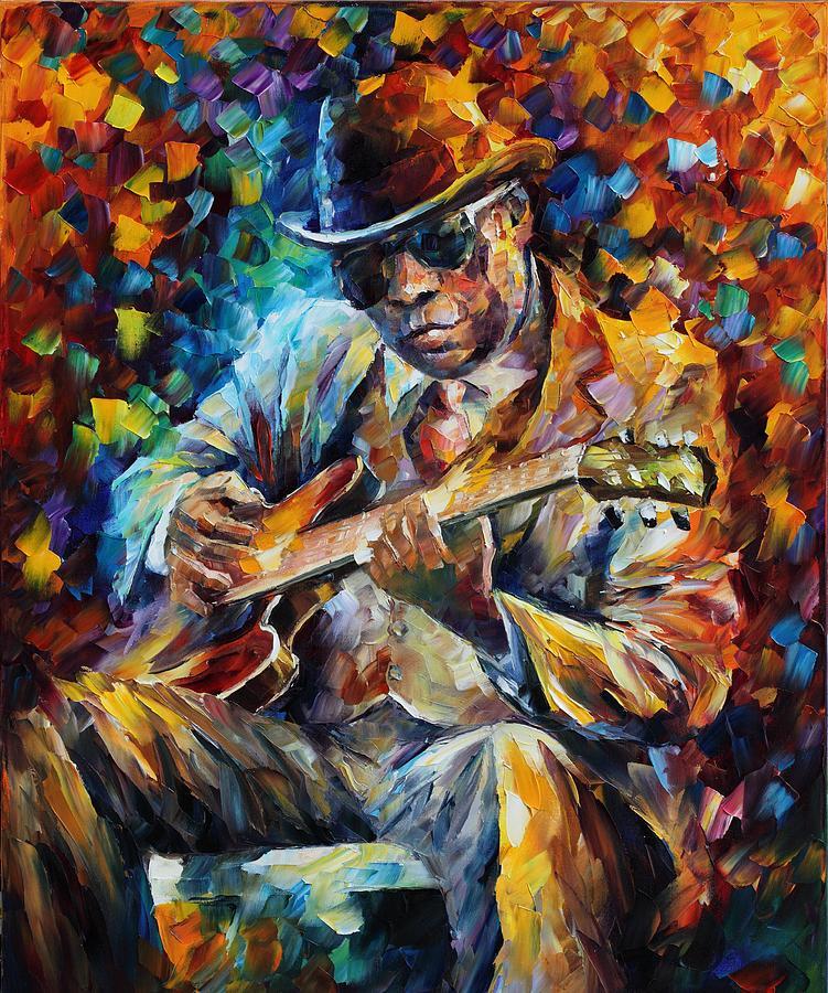 Leonid Afremov Painting - John Lee Hooker - Palette Knife Oil Painting On Canvas By Leonid Afremov by Leonid Afremov
