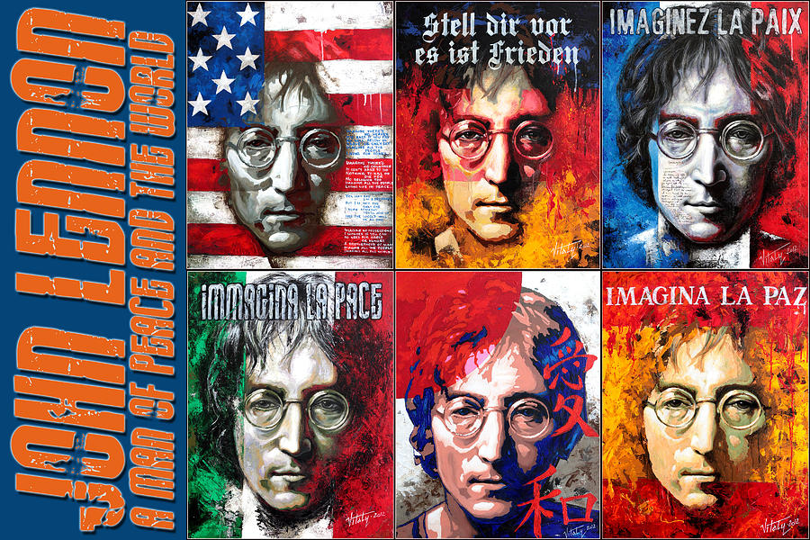 Acrylic On Canvas Painting - John Lennon - A Man Of Peace And The World. A Collage by Vitaliy Shcherbak
