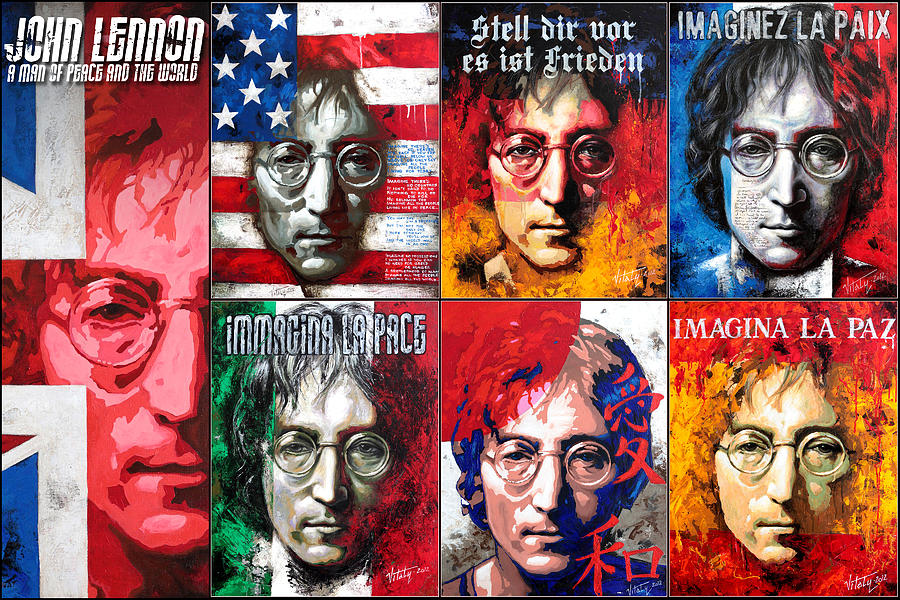 Acrylic On Canvas Painting - John Lennon - A Man Of Peace And The World. Second Poster by Vitaliy Shcherbak