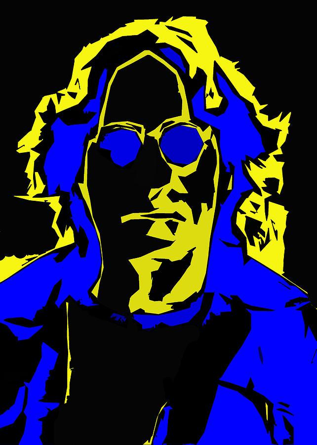 John Lennon Abstract Comic Style Batman Gotham City Digital Art Beatles Singer Digital Art - John Lennon Abstract  by Steve K
