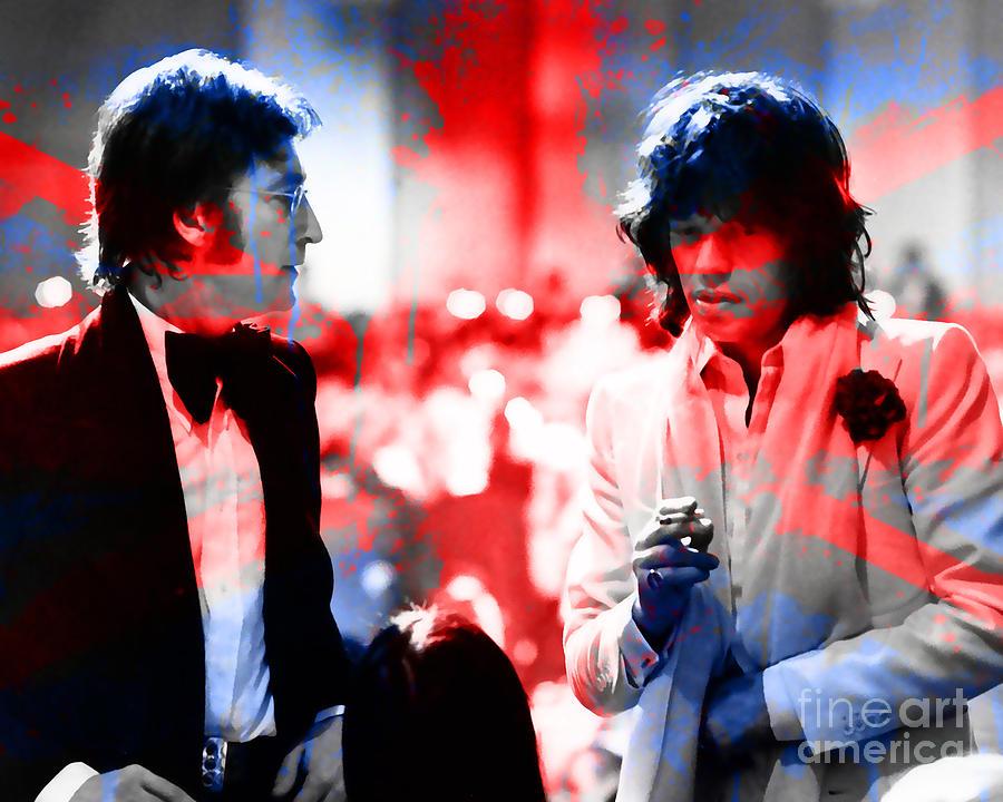 John Lennon Mixed Media - John Lennon And Mick Jagger Painting by Marvin Blaine