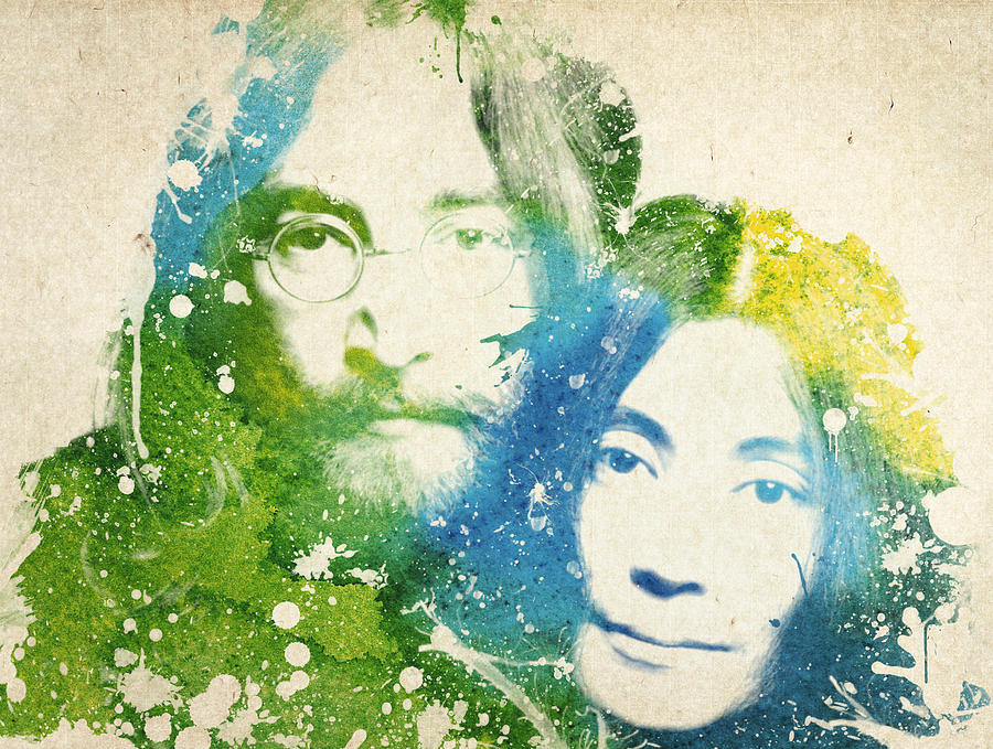 The Beatles Painting - John Lennon and yoko ono by Aged Pixel