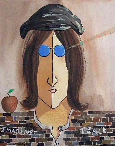 Joe Hawthorn Contemporary Original Pop Art Paintings Painting - John Lennon Imagine Peace by Joe Hawthorn