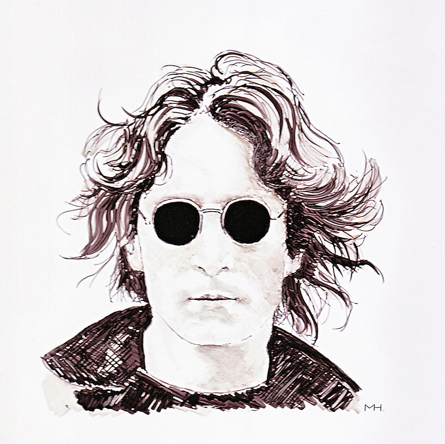 Portrait Drawing - John Lennon by Martin Howard