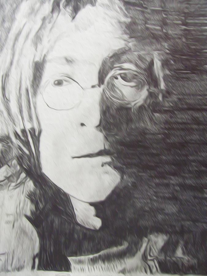 Miami Drawing - John Lennon Pencil by Jimi Bush
