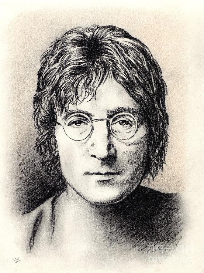 John Lennon Drawing - John Lennon Portrait by Wu Wei