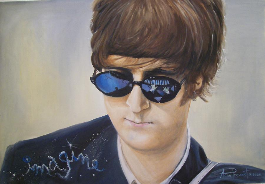 John Lennon Portrait Painting - John Lennon-reflections Imagine by Anne Provost