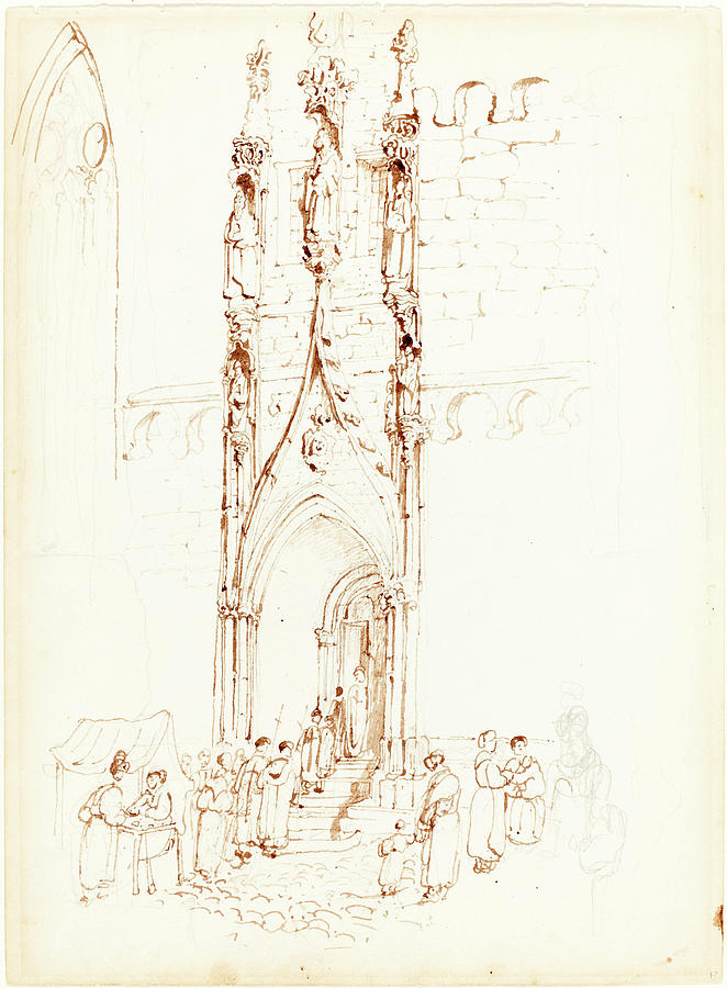 John Skinner Prout British 1806 1876 A Gothic Arch Drawing By