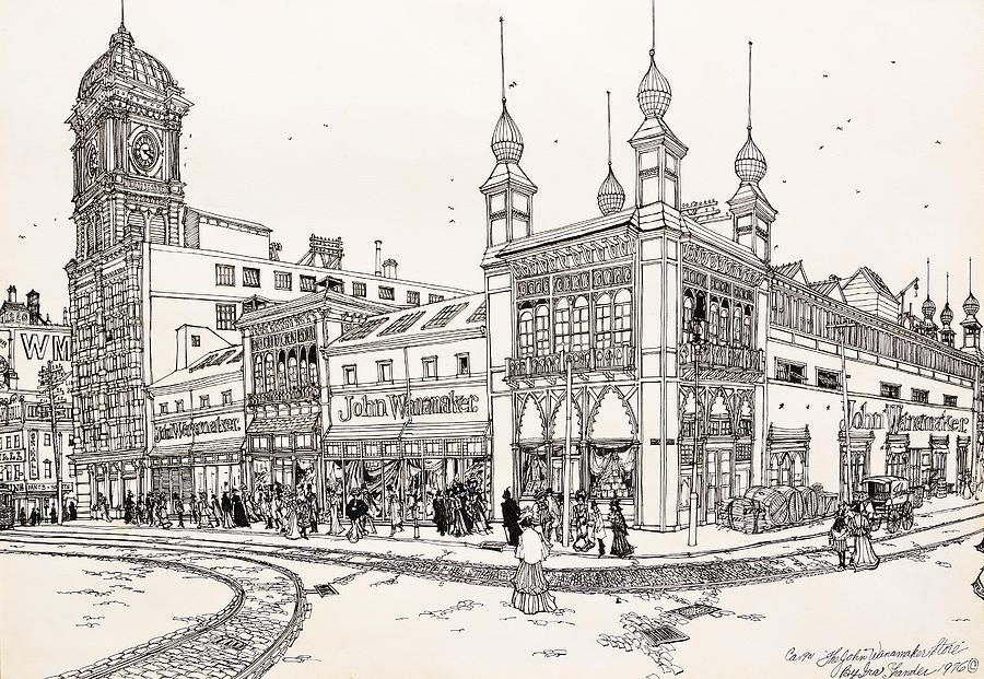 John Wanamaker Drawing - John Wanamakers Grand Depot by Ira Shander