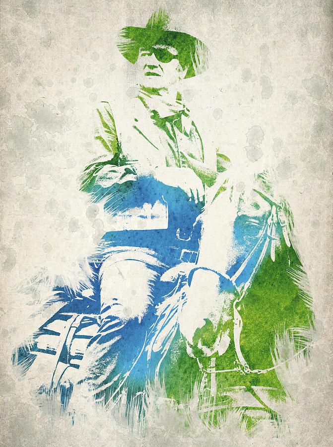 John Wayne Digital Art - John Wayne  by Aged Pixel