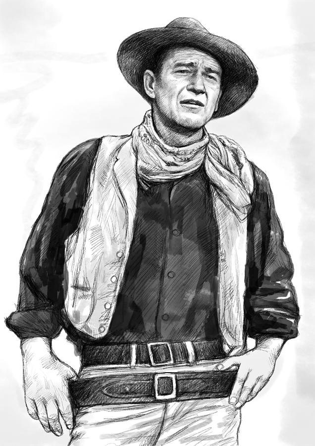 John Wayne Art Drawing Sketch Portrait