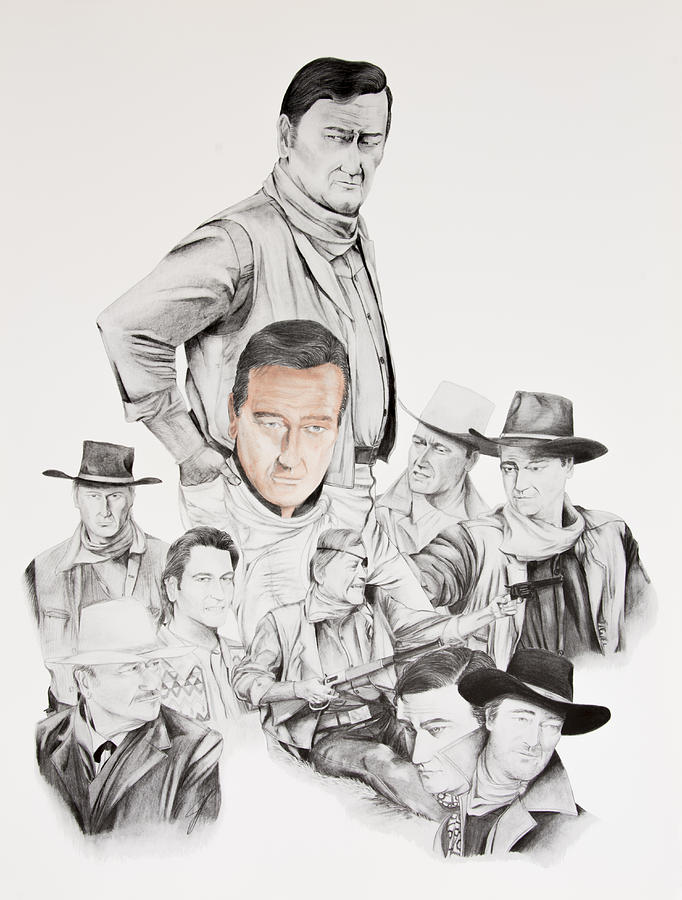 John Wayne Drawing - John Wayne Commemoration 1930 To 1976 by Joe Lisowski