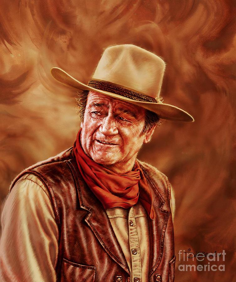 Portrait Painting - John Wayne by Dick Bobnick