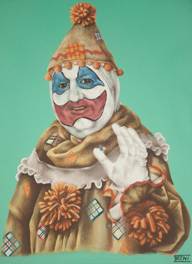 John Wayne Gacy Drawing - John Wayne Gacy As Pogo The Clown by Brent Andrew Doty