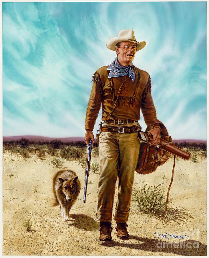 Portrait Painting - John Wayne HONDO by Dick Bobnick