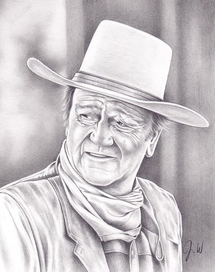 John Wayne Drawing - John Wayne by Jamie Warkentin