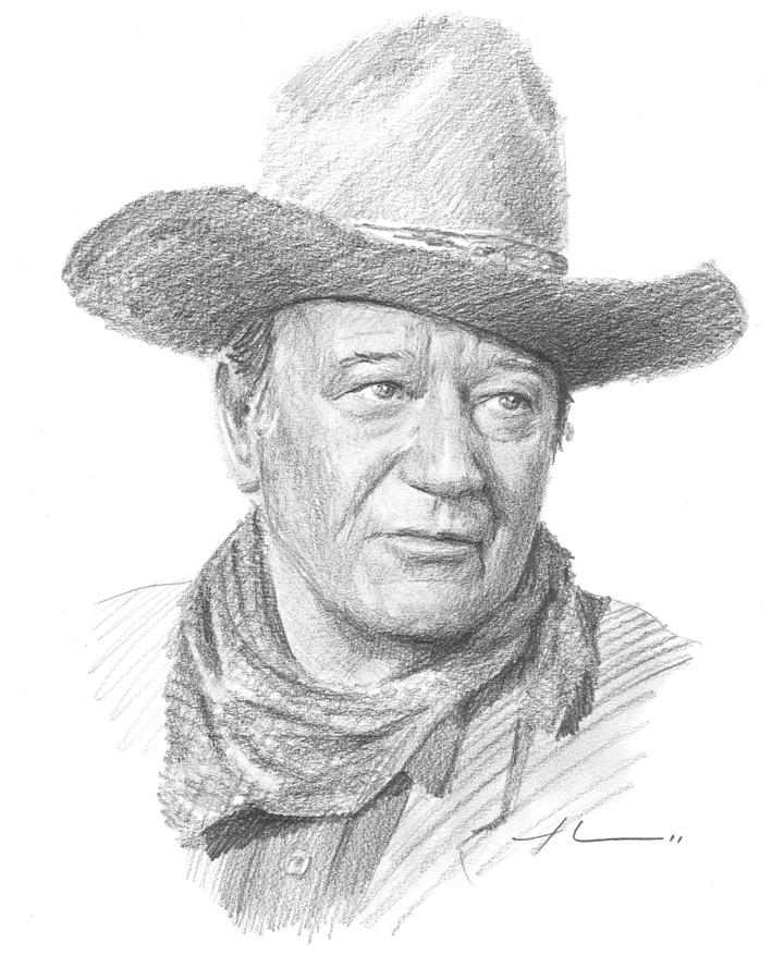 John Wayne Pencil Portrait Drawing by Mike Theuer