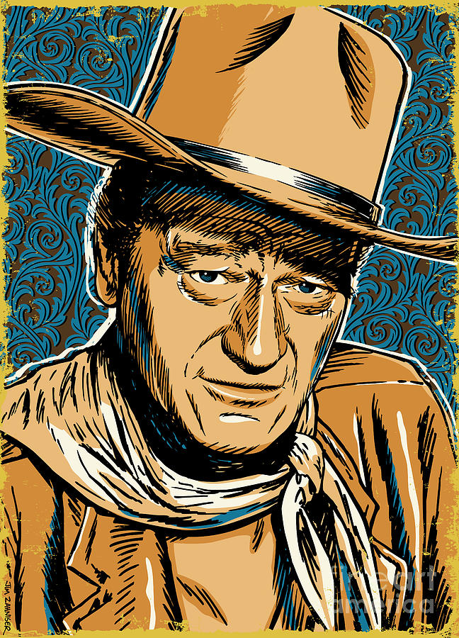 Western Digital Art - John Wayne Pop Art by Jim Zahniser