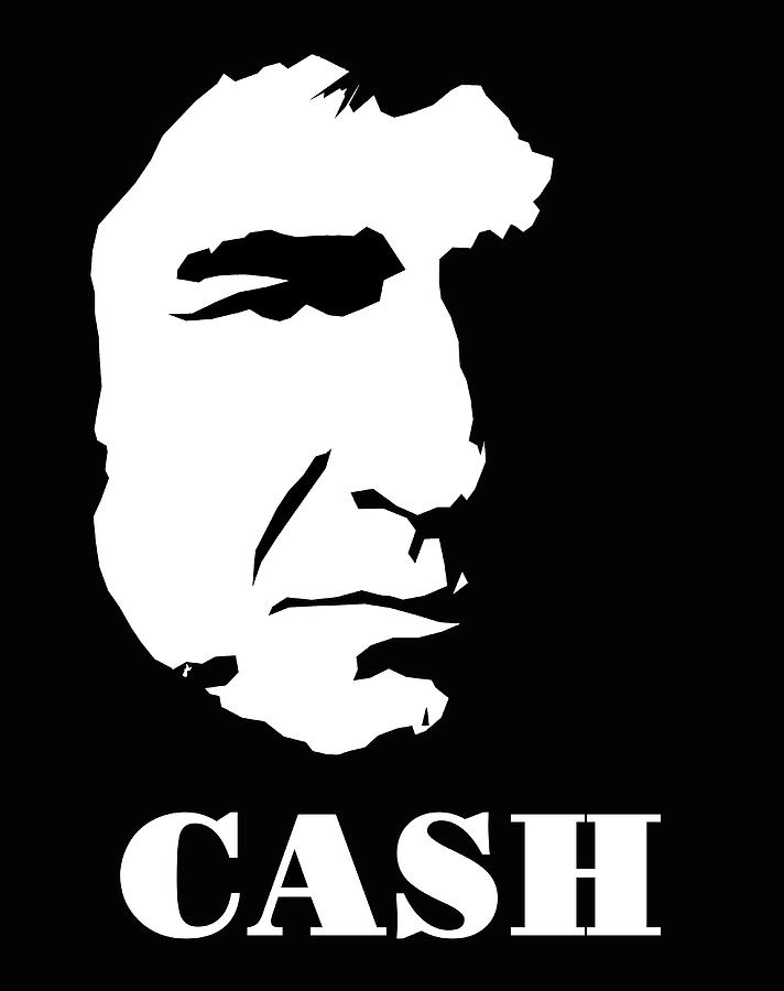 Johnny Cash Black And White Pop Art Digital Art by David G ...
