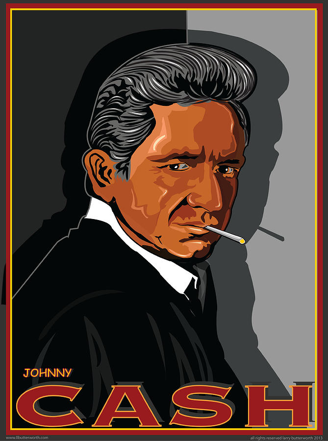 Music Digital Art - Johnny Cash by Larry Butterworth