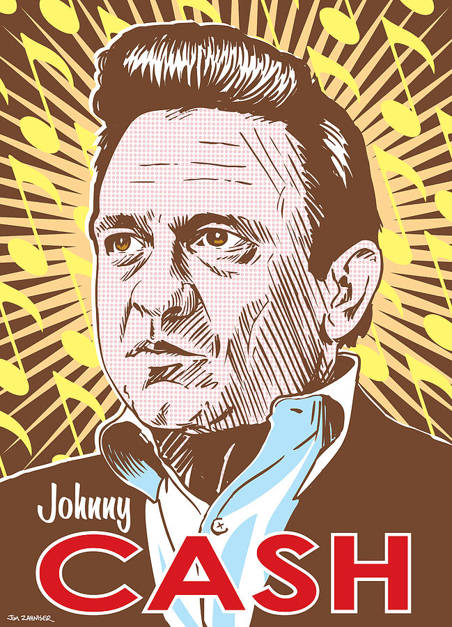 Outlaw Digital Art - Johnny Cash Pop Art by Jim Zahniser