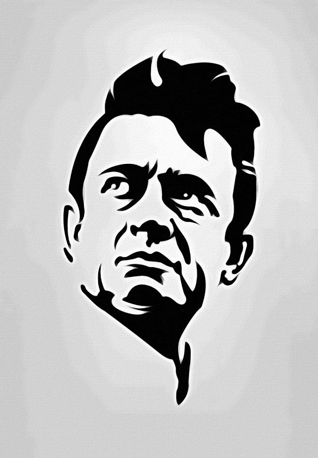 Johnny cash painting johnny cash poster art portrait by florian rodarte