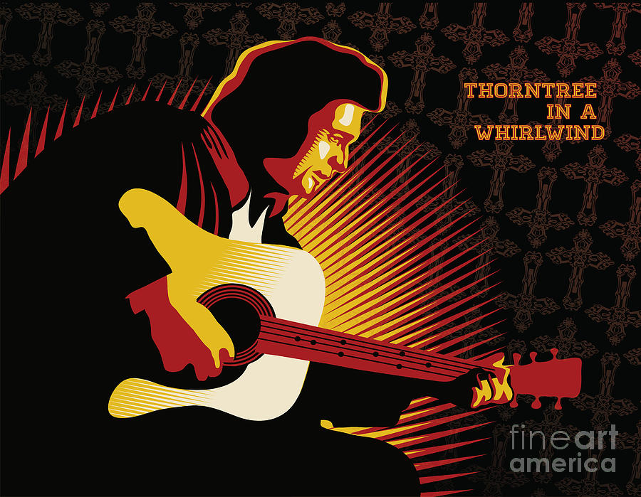 Johnny Cash Digital Art - Johnny Cash Thorntree In A Whirlwind by Sassan Filsoof