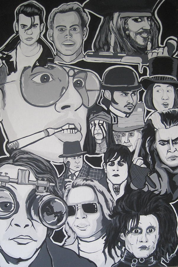 Depp Painting - Johnny Depp Character Tribute by Gary Niles