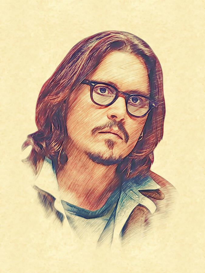 Johnny Depp Drawing - Johnny Depp by Marina Likholat