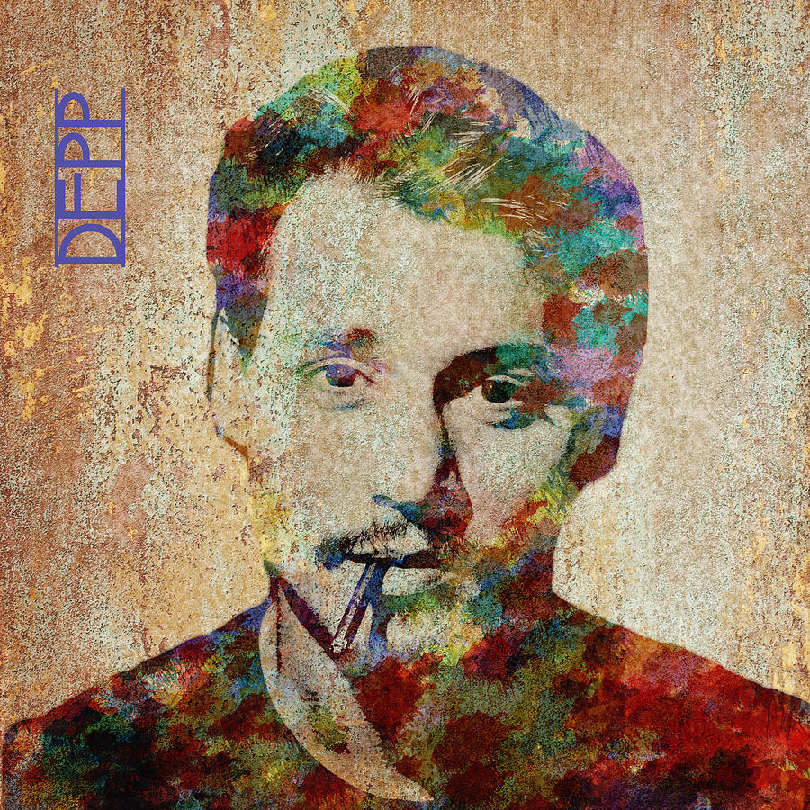 Feature Digital Art - Johnny Depp Watercolor Splashes by Paulette B Wright