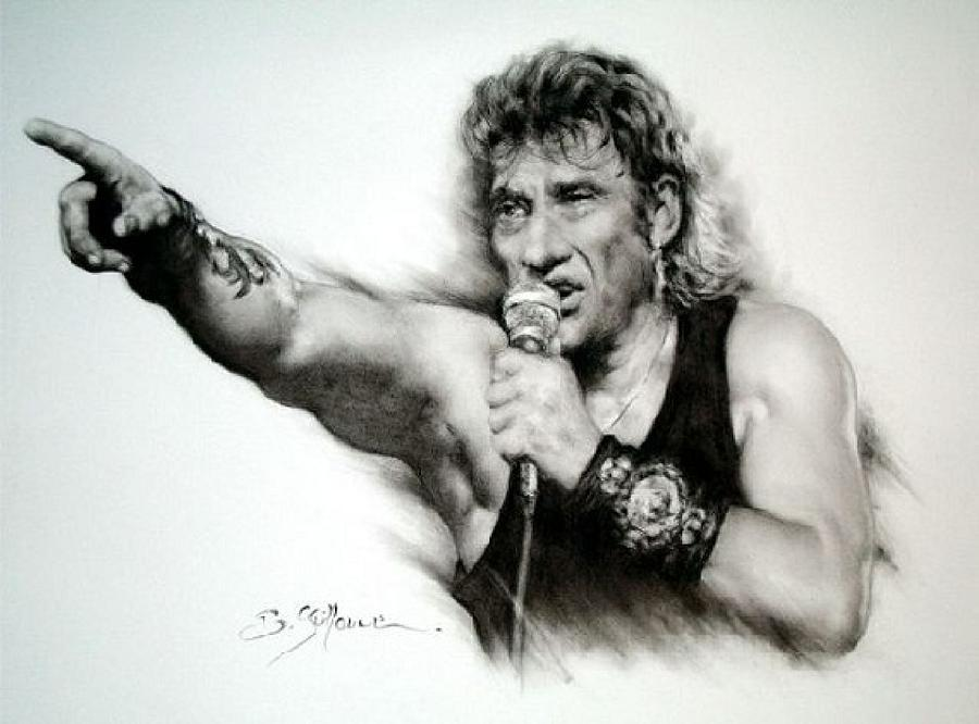 Johnny Halliday Drawing - Johnny Halliday by Guillaume Bruno