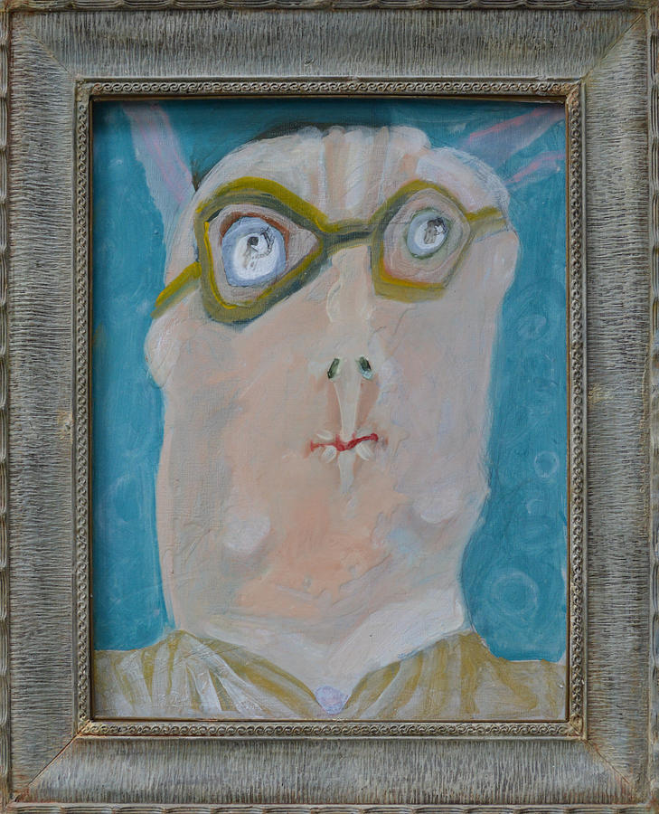 Abstract Painting - Johns Dad Seeing Babies Born - Framed by Nancy Mauerman