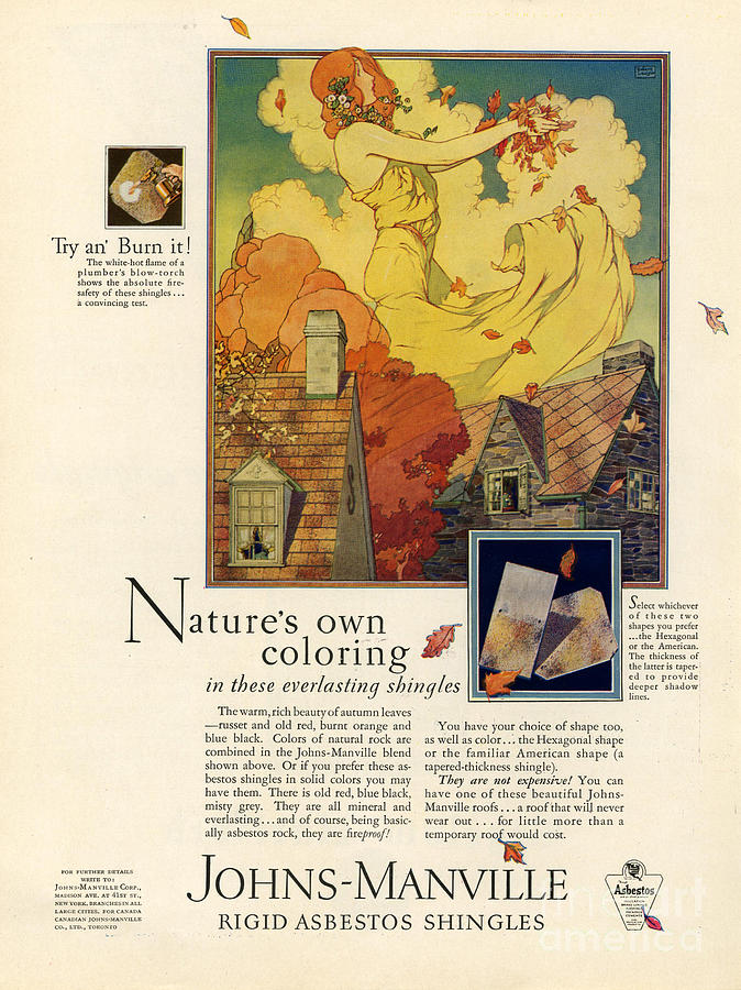 Adverts Drawing - Johns-manville 1927 Usa Cc  Asbestos by The Advertising Archives
