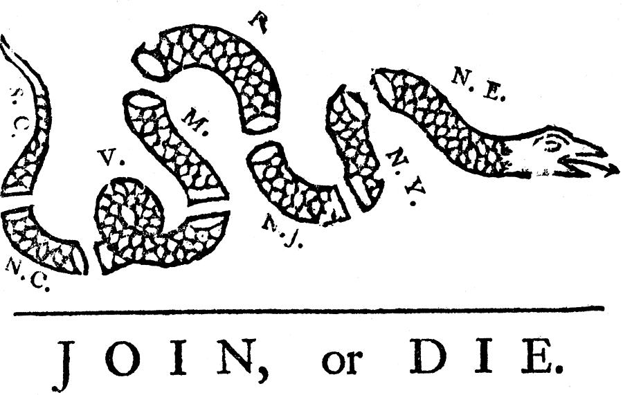 Pa Drawing - Join Or Die by Anonymous