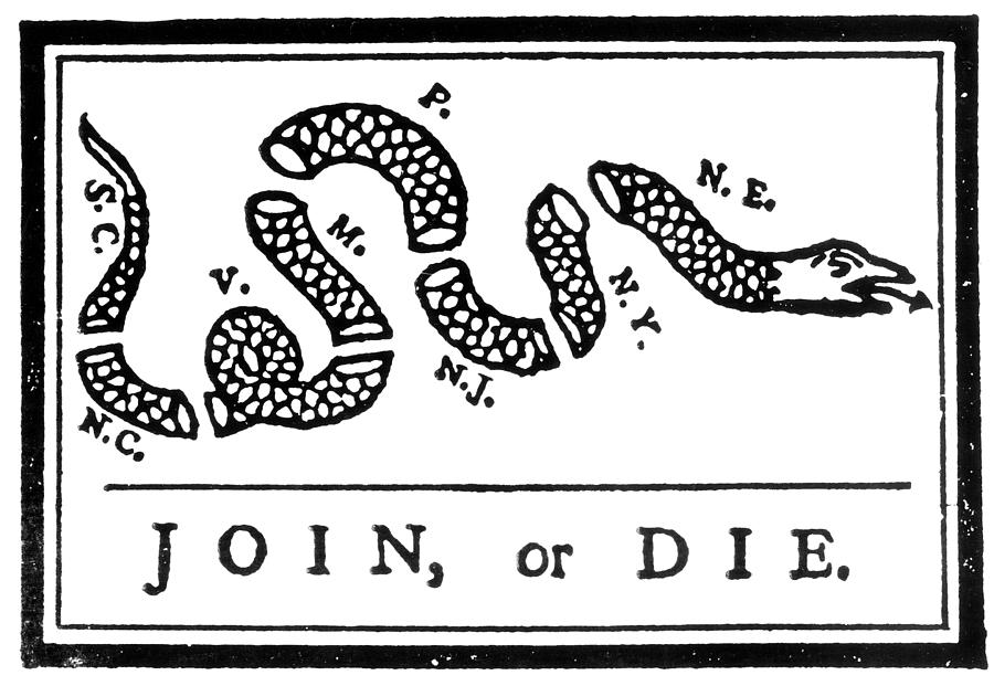 Join or die cartoon 1754 photograph by granger for French and indian war coloring pages