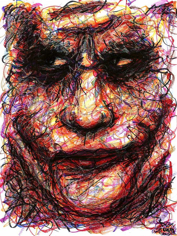 Joker Drawing - Joker - Face II by Rachel Scott