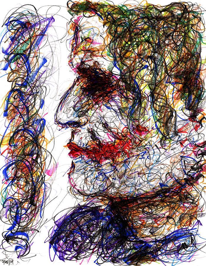 Joker Drawing - Joker - Profile by Rachel Scott
