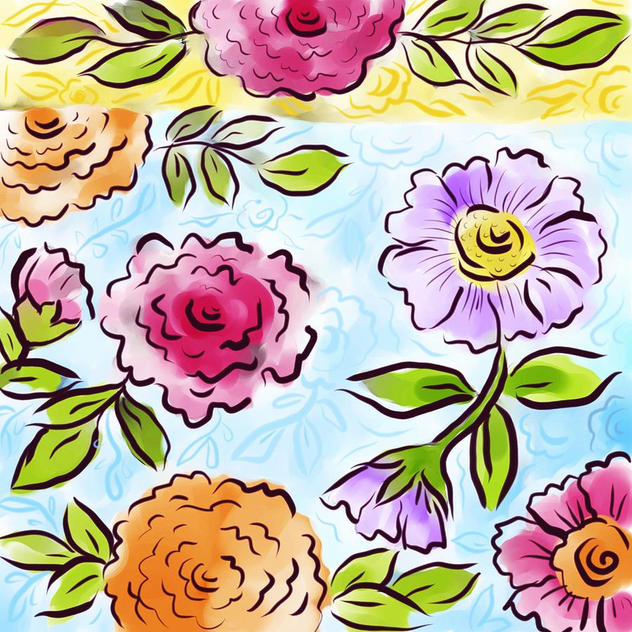 Flowers Digital Art - Jolly Bouquet by Elaine Jackson