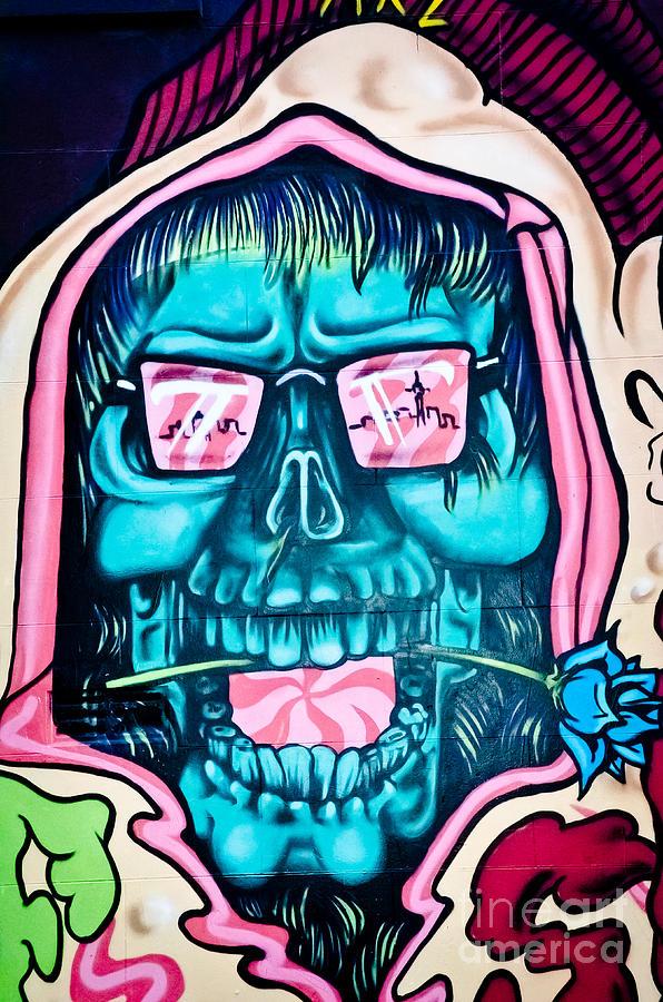 Jolly Hallucinogenic Skull Graffiti Painting By Yurix