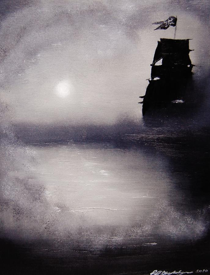 Pirate Ship Painting - Jolly Roger by Eugene Budden
