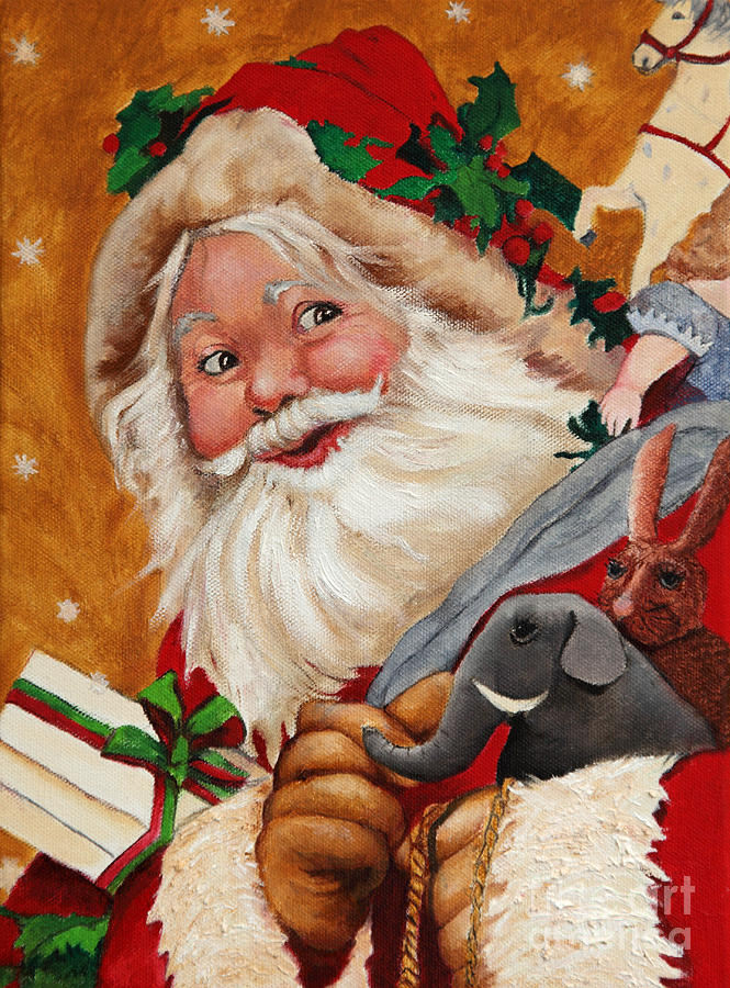 Jolly santa painting by enzie shahmiri for Christmas images paintings