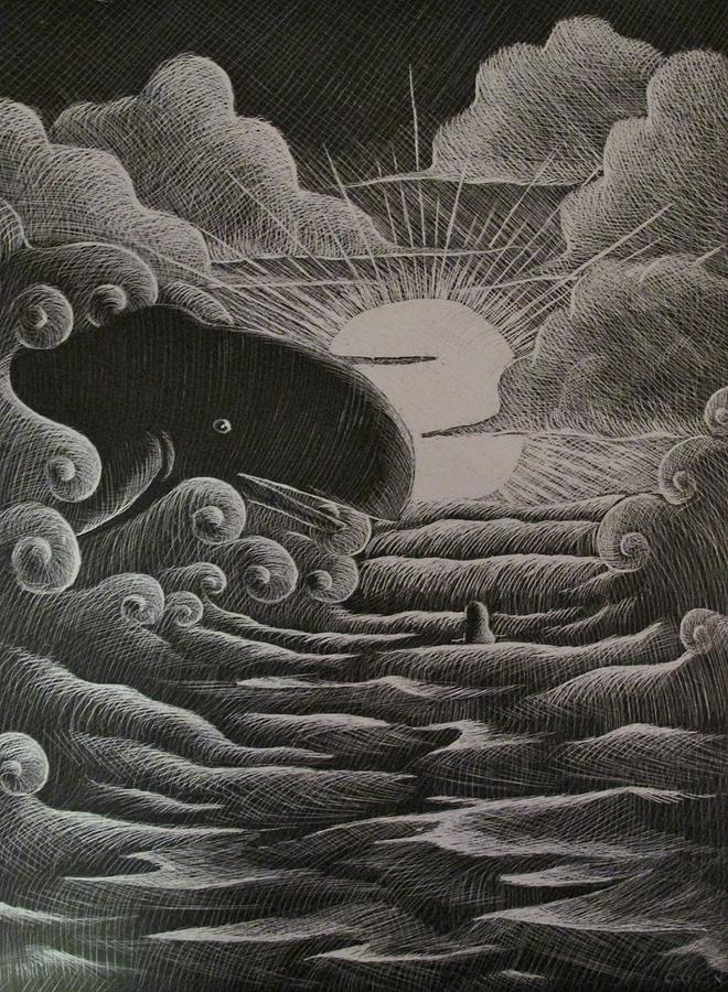 Jonah Drawing - Jonah And The Whale by Catlin Perry