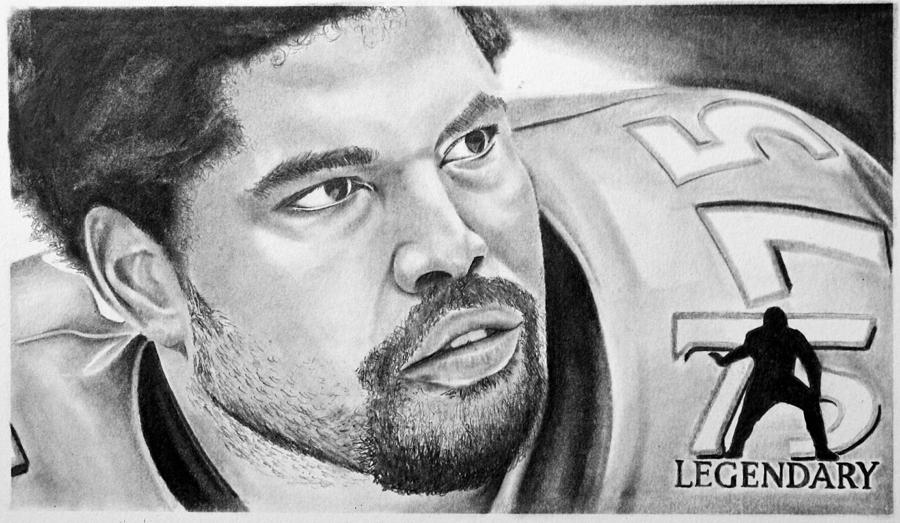 Nfl Drawing - Jonathan Ogden by Don Medina