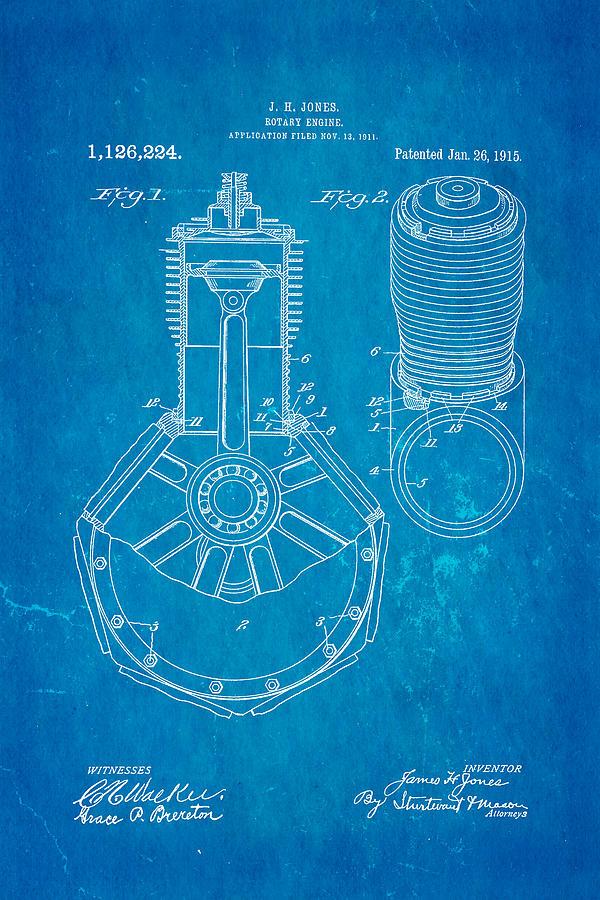 Jones hendee mfg co rotary engine patent art 1915 blueprint aviation photograph jones hendee mfg co rotary engine patent art 1915 blueprint by ian monk malvernweather Image collections