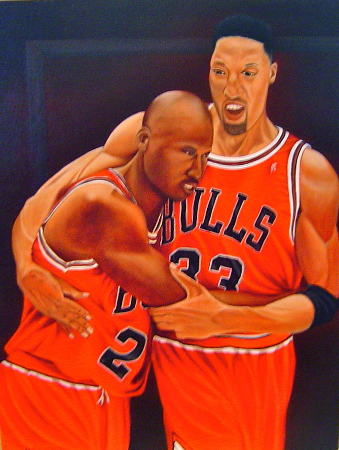 Michael Jordan Painting - Jordan And Pippen by Yechiel Abramov