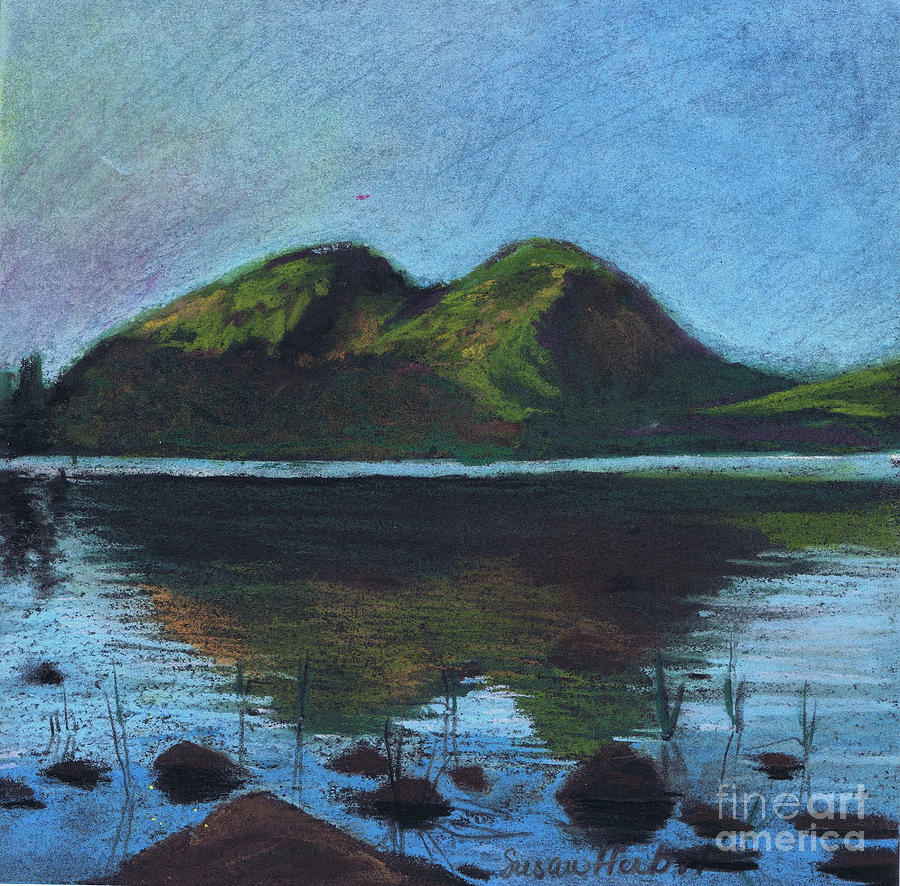 Mountains Painting - Jordon Pond And The Bubbles by Susan Herbst