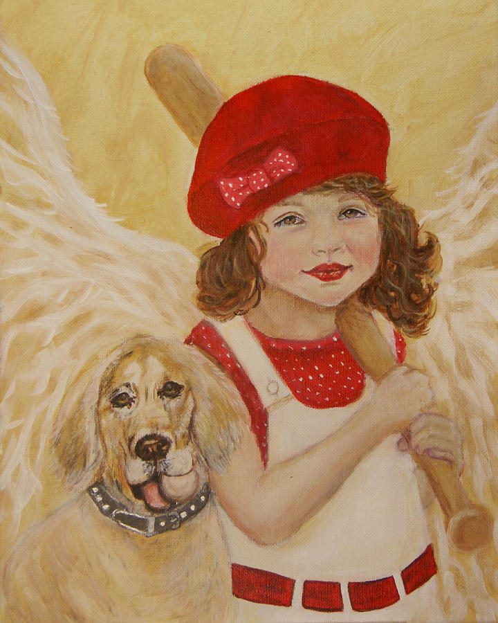 Angel Painting - Joscelyn And Jolly Little Angel Of Playfulness by The Art With A Heart By Charlotte Phillips